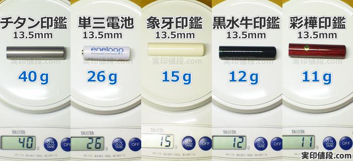実印の重さ比較