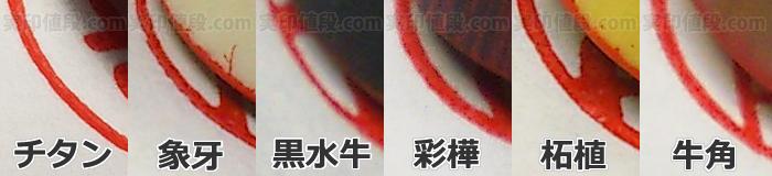 実印素材の捺印性比較
