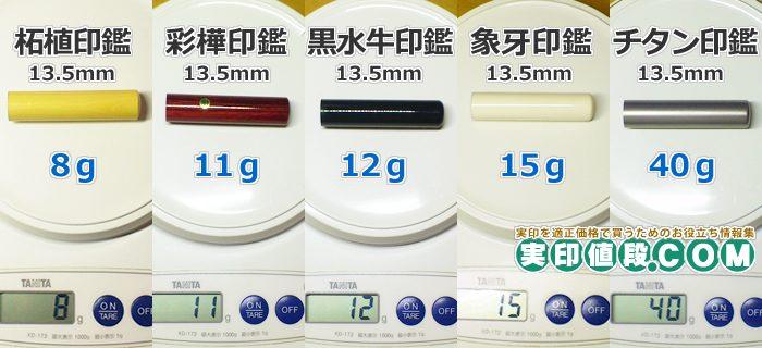 チタン印鑑と他素材の重さの違い